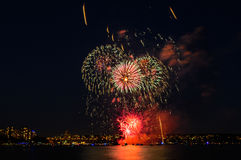Salute, beautiful fireworks. Beautiful fireworks at night in Vancouver Canada Stock Photo