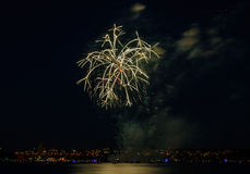 Salute, beautiful fireworks. Beautiful fireworks at night in Vancouver Canada Stock Photos