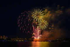 Salute, beautiful fireworks. Beautiful fireworks at night in Vancouver Canada Royalty Free Stock Image