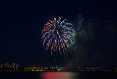 Salute, beautiful fireworks. Beautiful fireworks at night in Vancouver Canada Stock Images