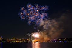 Salute, beautiful fireworks. Beautiful fireworks at night in Vancouver Canada Royalty Free Stock Photography