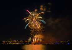 Salute, beautiful fireworks. Beautiful fireworks at night in Vancouver Canada Royalty Free Stock Images