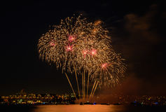 Salute, beautiful fireworks. Beautiful fireworks at night in Vancouver Canada Royalty Free Stock Photos