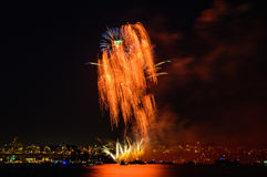 Salute, beautiful fireworks. Beautiful fireworks at night in Vancouver Canada Royalty Free Stock Photo