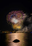 Salute, beautiful fireworks. Beautiful fireworks at night in Vancouver Canada Stock Photography