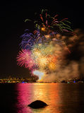 Salute, beautiful fireworks. Beautiful fireworks at night in Vancouver Canada Stock Image
