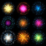 Salute. Collection of Colorful vector fireworks, sparklers, salute and petards explosions - design elements  over black night sky Stock Photography
