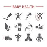 Salute del bambino Linea icone di web della medicina Segni di vettore illustrazione di stock