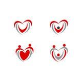 Salute dell'icona di vettore di logo di amore della gente del cuore Fotografia Stock Libera da Diritti