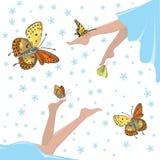 Salute e farfalle Fotografia Stock Libera da Diritti