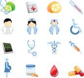 Salute ed icone di Nutricion Immagini Stock
