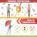 Salute ed insegne immuni di orizzontale di protezione illustrazione vettoriale