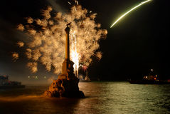 Salute,  firework above the bay. Royalty Free Stock Photo