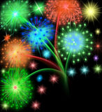 Salute firework on black Royalty Free Stock Photography