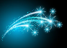 Salute and firework. Glowing background with salute and firework vector illustration
