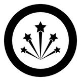 Salute firework icon black color in circle round. Vector illustration Royalty Free Stock Images