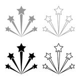 Salute firework icon set grey black color. Outline Stock Photo