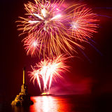 Salute, fireworks. Above the Sevastopol bay Stock Photo
