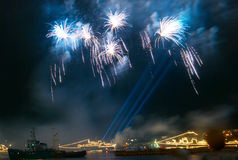 Salute, fireworks above the bay. Royalty Free Stock Image