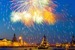 Salute fireworks explosions city night lights Saint-Petersburg Royalty Free Stock Photos