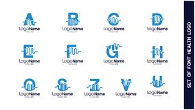 Salute Logo Design Concept, tipi differenti di logos di salute, Logo Design Vector semplice Illustrazione Vettoriale