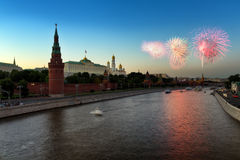 Salute over the Kremlin in Moscow Stock Photos
