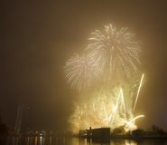 Salute over river Daugava Stock Photos