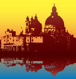 Salute Reflection. Illustration of of the Church of Santa Maria della Salute, Venice, Italy with a reflection in the lagoon vector illustration
