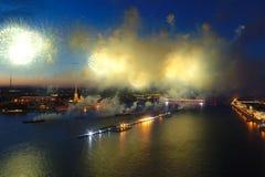Salute Scarlet Sails. The festive salute is grandiose. Fireworks pyrotechnics.  stock photo