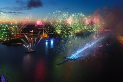 Salute Scarlet Sails. The festive salute is grandiose. Fireworks pyrotechnics.  royalty free stock photos
