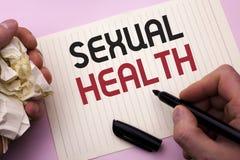 Salute sessuale del testo di scrittura di parola Concetto di affari per cura sana del sesso di abitudini di protezione di uso di  fotografia stock libera da diritti