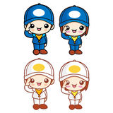 Salute to the Boy and Girl Character Mascot. Childrens Character Stock Images