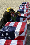 Salute to the heroes. Mourning the heroes on santa monica beach Stock Photo