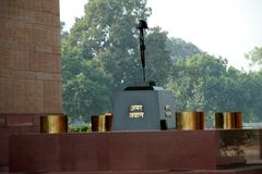 Salute to Unknown Soldier. Tribute paid to unknown soldier at India Gate, Delhi, India, Asia Royalty Free Stock Photo