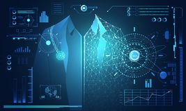 Salute umana di dati di tecnologia di concetto astratto di scienza digitale: illustrazione di stock