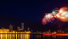 Salute in Yekaterinburg city pond and downtown night Royalty Free Stock Image