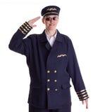 Salutera för kvinnligpilot Fotografering för Bildbyråer