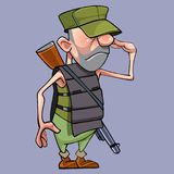 Salutes cartoon male soldier in a armored vest with a gun Stock Images