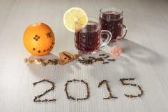 Saluti caldi 2015 del buon anno e del vino Fotografia Stock Libera da Diritti