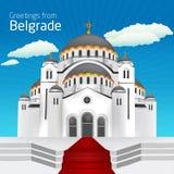 Saluti da Belgrado San Sveti Sava Belgra della chiesa ortodossa Royalty Illustrazione gratis