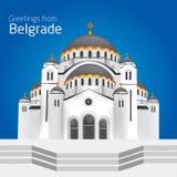 Saluti da Belgrado San Sveti Sava Belgra della chiesa ortodossa Illustrazione Vettoriale