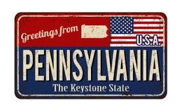 Saluti dal segno arrugginito d'annata del metallo della Pensilvania royalty illustrazione gratis