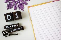 Saluti del nuovo anno in un taccuino aperto Immagine Stock Libera da Diritti