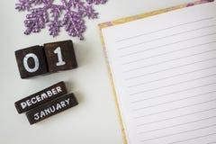 Saluti del nuovo anno in un taccuino aperto Fotografie Stock Libere da Diritti