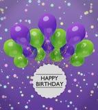 Saluti di buon compleanno con la rappresentazione viola e verde dei palloni 3d illustrazione di stock