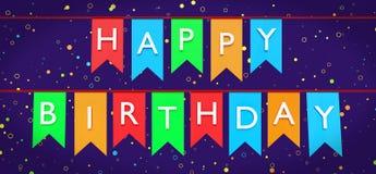 saluti di compleanno 3d in bandiere della stamina illustrazione di stock