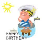 Saluti di compleanno per un marinaio Immagini Stock Libere da Diritti