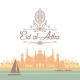 Saluti di Eid in scritto arabo Una cartolina d'auguri islamica per Eid illustrazione di stock