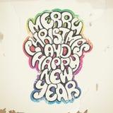 Saluti di Natale, spruzzo dipinto, sulla vecchia parete. Immagine Stock