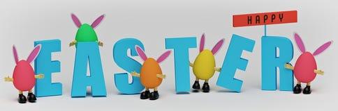 Saluti di Pasqua con le uova di Pasqua rappresentazione 3d illustrazione di stock